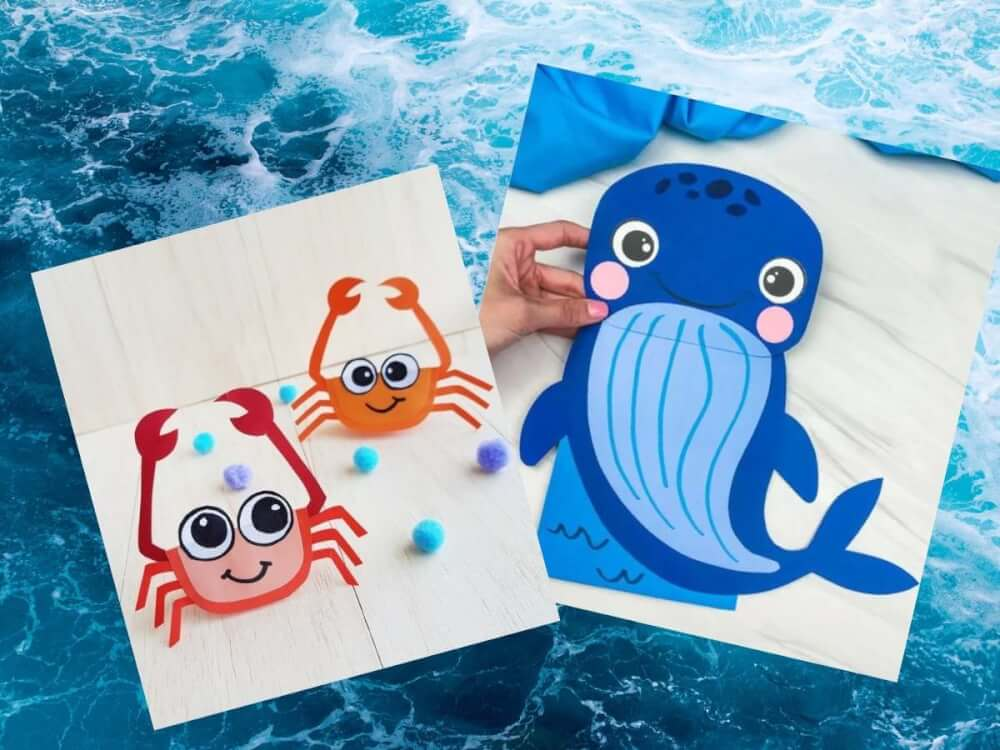 Find out the cutest ocean crafts for kids rounded up by top Hawaii blog Hawaii Travel with Kids. Image of a paper whale and paper crab crafts.
