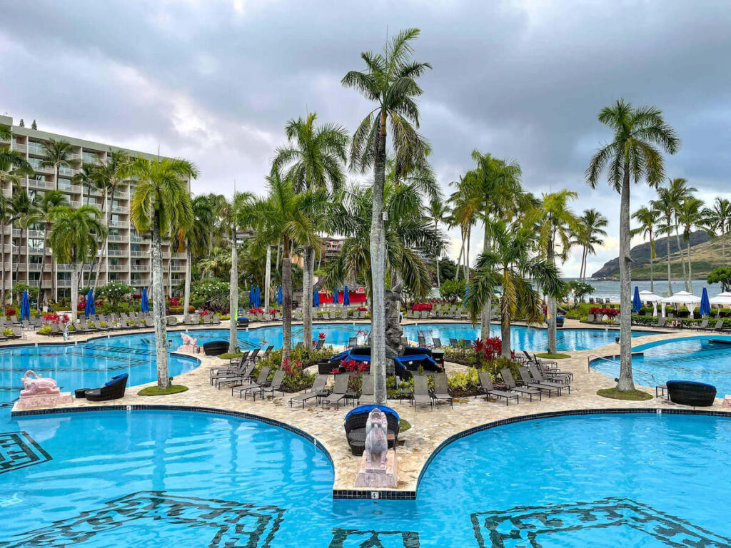 Where to stay on Kauai with kids: Royal Sonesta Kauai review. Image of a massive pool at the Royal Sonesta Kauai.