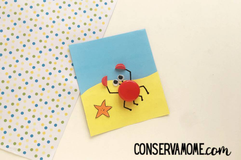 Your kids will love making this bottle cap crab craft.